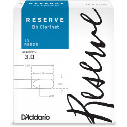 D'Addario Reserve Bb Clarinet Reeds, Strength 3.0, 10-pack