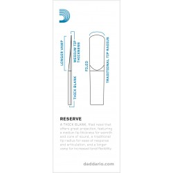 D'Addario Reserve Bass Clarinet Reeds, Strength 4.5, 5-pack