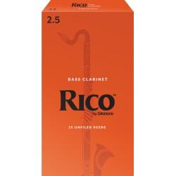 Rico Bass Clarinet Reeds, Strength 2.5, 25-pack