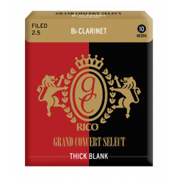 Rico Grand Concert Select Thick Blank Bb Clarinet Reeds, Filed, Strength 2.5, 10-pack