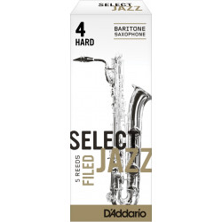 Rico Select Jazz Baritone Sax Reeds, Filed, Strength 4 Strength Hard, 5-pack