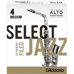 Rico Select Jazz Alto Sax Reeds, Filed, Strength 4 Strength Medium, 10-pack