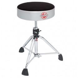 Professional Cloth Top Round Drum Throne, Satin Grey Silver Side