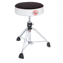 Professional Cloth Top Round Drum Throne, Silver White Sparkle Side