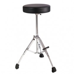 """Short 21"""" Stool with Round Seat, Fold Up Tripod with Foot Rest"""