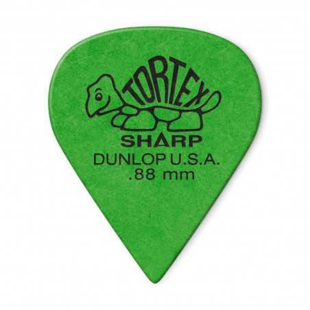 Dunlop 412R-88 Green 0.88mm Tortex® Sharp Guitar Pick (unité)