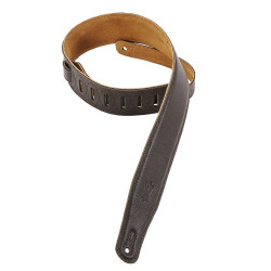 Levy's 2 1/2″ wide brown garment leather guitar strap