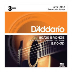 D'Addario EJ10-3D Bronze Bronze Acoustic Guitar Strings, Extra Light, 3 Sets