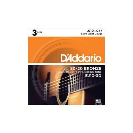 D'Addario EJ10-3D Bronze Acoustic Guitar Strings, Extra Light, 3 Sets
